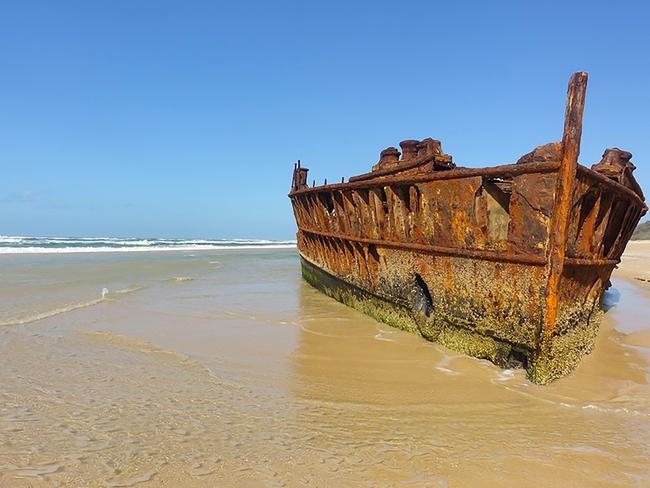 The famous SS Maheno shipwreck on Fraser Island. Picture: Natalie Tuck/Big 4