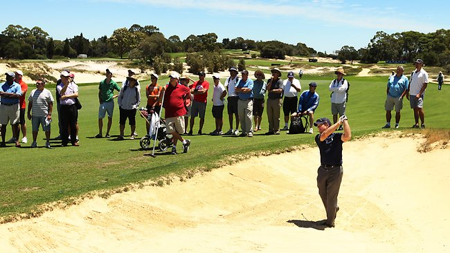 Tom Watson hits from a fairway bunker during his practice round at The Lakes Golf Club. Picture: Brett Costello