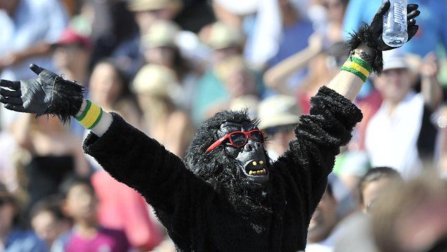 A spectator dressed as a gorilla watches the action as John Isner of the US plays against Marin Cilic of Croatia during their round three men's singles match on the sixth day of the Australian Open tennis tournament in Melbourne on January 22, 2011. IMAGE STRICTLY RESTRICTED TO EDITORIAL USE STRICTLY NO COMMERCIAL USE AFP PHOTO / PAUL CROCK
