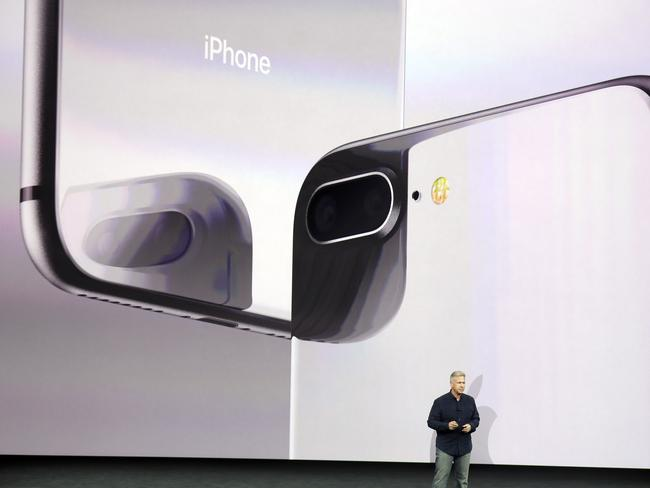 Phil Schiller, Apple's senior vice president of worldwide marketing, shows the new iPhone 8 camera will be the best ever. Picture: AP
