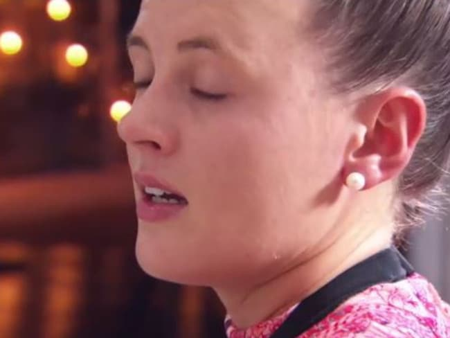 Amy is clearly distressed after Josh warns they will get divorced after their cook on My Kitchen Rules. Picture: Channel 7