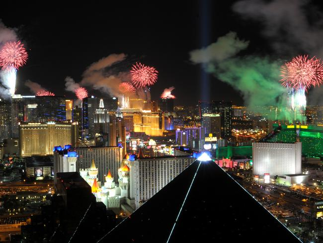 Fireworks burst over the Las Vegas Strip at midnight on New Year's 2012, as seen from Mix at Mandalay Bay. Picture: Supplied