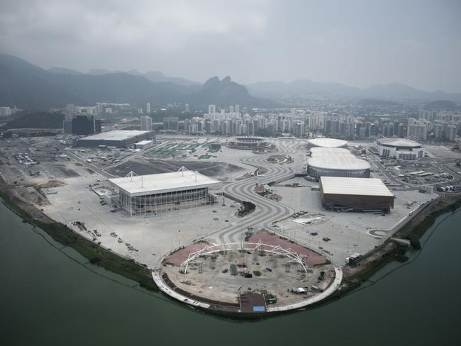 Aerial view of the Olympic Village with six months to go.
