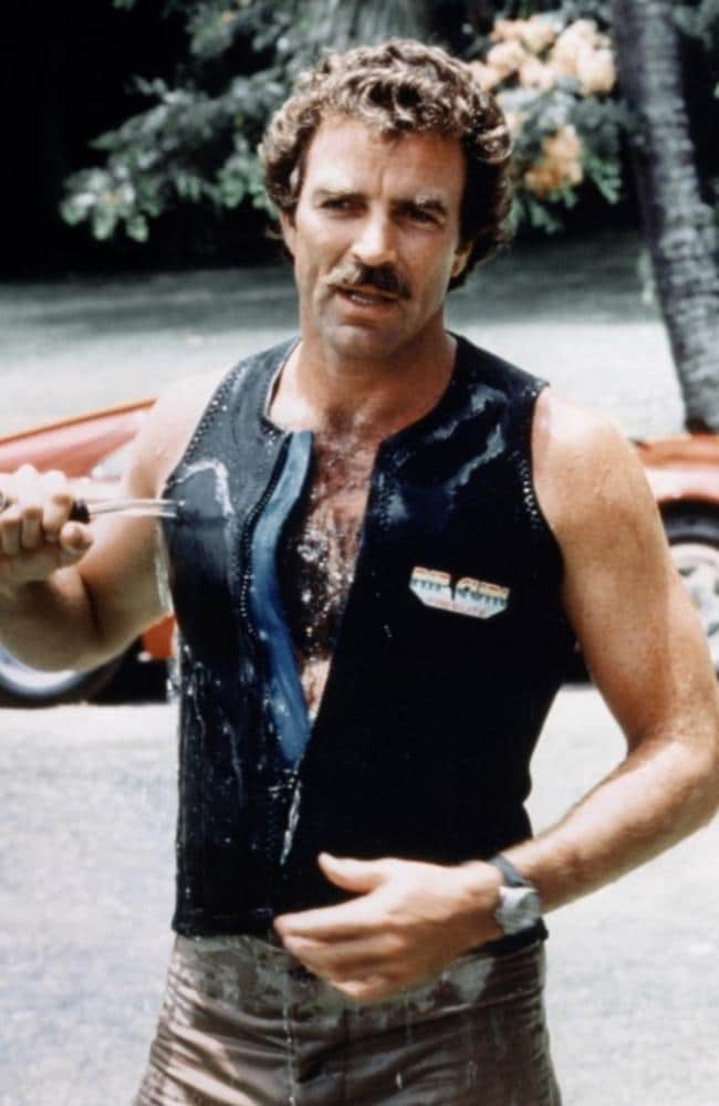 Tom Selleck in a scene from TV show Magnum PI.