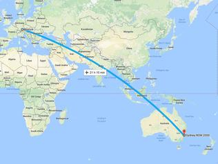 Flight path from Germany to Australia