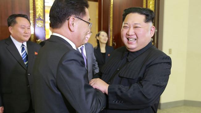 Mr Chung pictured meeting Kim in Pyongyang. Picture: KCNA/AFP