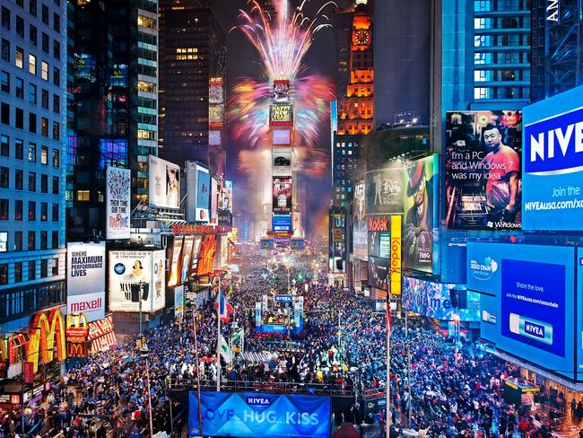 New Year's Eve fireworks display over Times Square, New York.