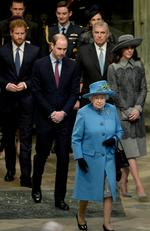 Queen Elizabeth II, Prince Philip, Duke of Edinburgh, Prince William, Duke of Cambridge, Catherine, Duchess of Cambridge and Prince Harry attend the annual Commonwealth Day service on Commonwealth Day on March 14, 2016 in Westminster Abbey, London. Picture: Getty