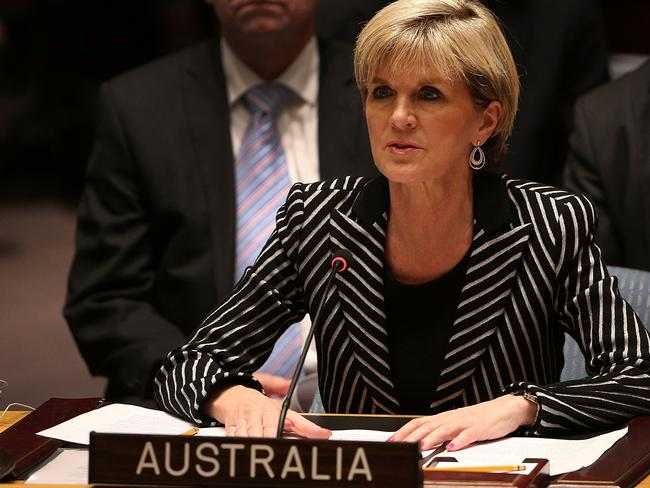 Strident ... Australia's Foreign Minister Julie Bishop speaks during the meeting of the UN Security Council.