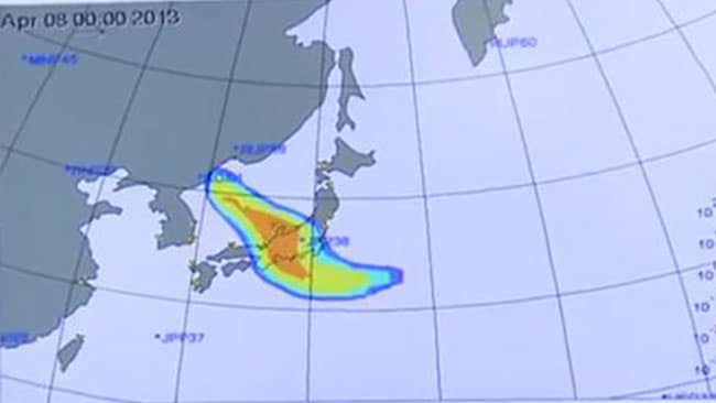 This screengrab from a CTBTO video shows the apparent radiation from a North Korea nuclear test in February. Picture: CTBTO, via YouTube