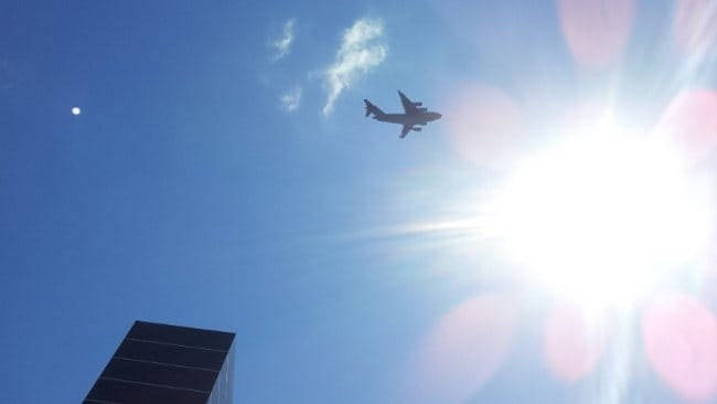 A reader pic of the Globemasters flying over Brisbane City.