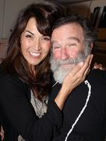 "Susan Schneider and fiancee Robin Williams pose backstage at the hit play ""Bengal Tiger at The Baghdad Zoo"" on Broadway at The Richard Rogers Theater on June 15, 2011 in New York City. Picture: Getty"