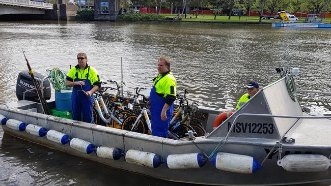 oBikes being recovered from the Yarra River. Picture: oBike Australia