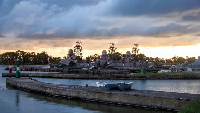 The Russian Warship Graveyard that is home to an array of vessels. Picture: Vladimir Mulder/Caters News