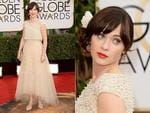 Golden Globes 2014 Red Carpet arrivals at the Beverly Hilton: New Girl's Zooey Daschanel. Picture: Getty