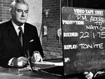 PM Gough Whitlam gets ready to record his TV address to the nation 05/75. pic News Limited.