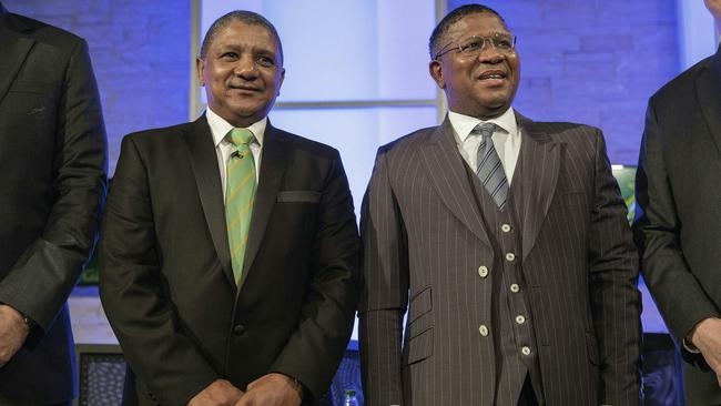 Newly appointed Springboks (South African National Rugby team) coach Allister Coetzee and South African minister for Sport and Culture Fikile Mbalula (R).