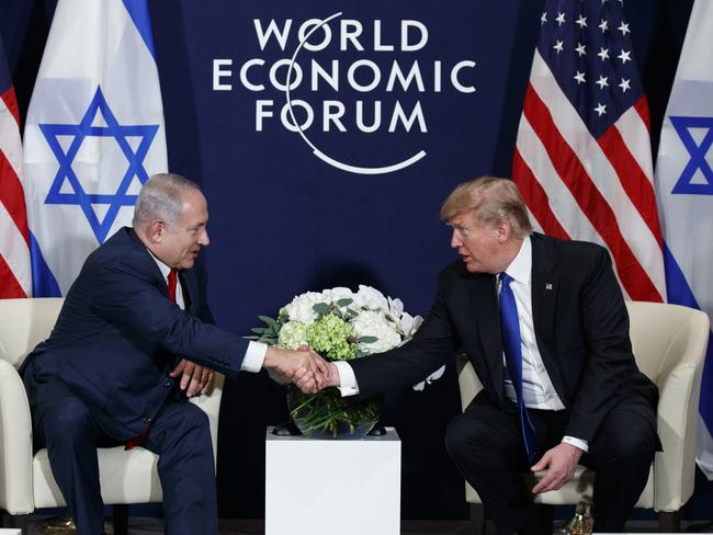 US president Donald Trump shakes hands with Israeli prime minister Benjamin Netanyahu at the World Economic Forum, 2018. Picture: AP