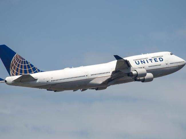 Frankfurt, Germany - June 10, 2014: United Airlines Boeing 747-400 taking off from the Frankfurt International Airport.