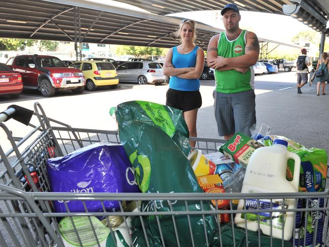 Shoppers unhappy about the cost of groceries.
