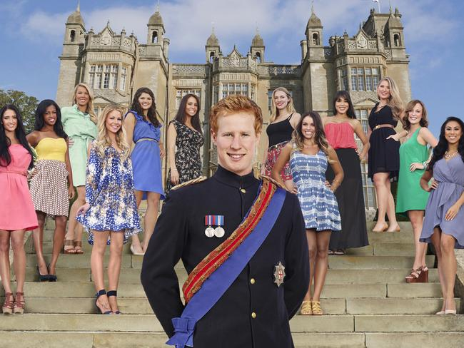 Royal lookalike Matthew Hicks with the contestants on I Wanna Marry Harry. Picture: Supplied