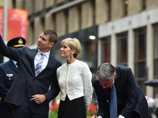 Could Julie Bishop (centre) be considering a leadership challenge against the Prime Minister? Picture: Peter Parks / AFP