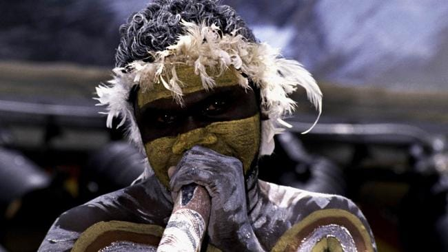 An Indigenous performer at the launch of the International Year of the World's Indigenous People (1993), Redfern Park, Sydney, 10 December 1992. Picture: National Archives of Australia
