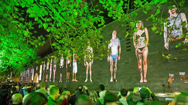The instalment Tattooed City is projected on the walls of NGV International as part of Wh