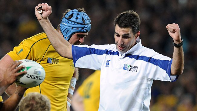 Referee Craig Joubert gestures during the 2011 Rugby World Cup semi-final match Australia vs New Zealand at Eden Park Stadium in Auckland. Picture: AFP