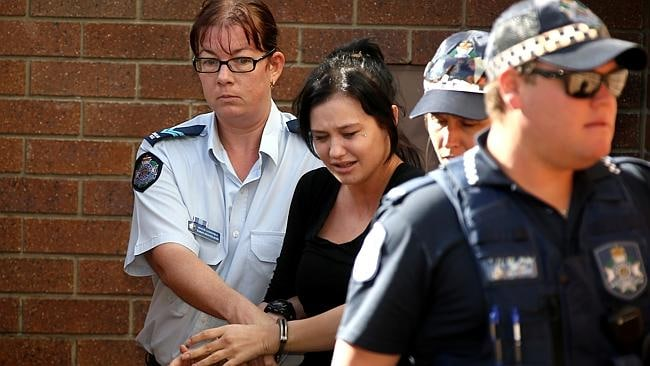 Gold Coast bus bash accused Layni Cameron at Coolangatta police station. Pic: David Clark