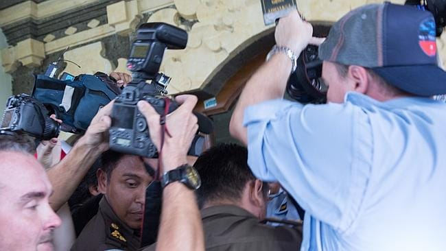 Media scrum ... the chaotic scene outside Kerobokan Prison as Schapelle Corby was finally released.