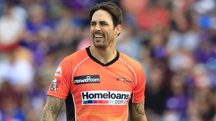 Mitchell Johnson of the Scorchers during the Big Bash League (BBL) T20 match between the Hobart Hurricanes and the Perth Scorchers at Blundstone Arena in Hobart, Saturday, January 21, 2017. (AAP Image/Rob Blakers) NO ARCHIVING, EDITORIAL USE ONLY, IMAGES TO BE USED FOR NEWS REPORTING PURPOSES ONLY, NO COMMERCIAL USE WHATSOEVER, NO USE IN BOOKS WITHOUT PRIOR WRITTEN CONSENT FROM AAP