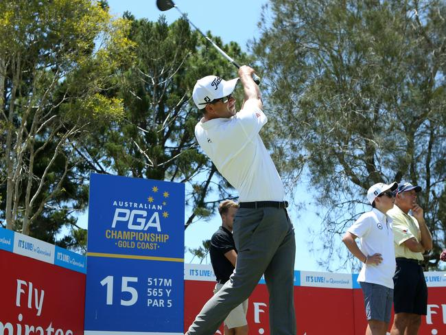 Adam Scott tees off at the 15th. Picture: Scott Fletcher