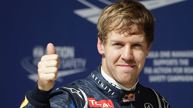 Sebastian Vettel reacts after winning the pole for the Formula One US Grand Prix in Austin, Texas. Picture: David J. Phillip