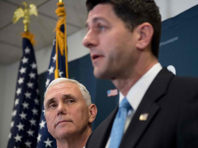 US Vice PresidentMike Pence listens to House Speaker Paul Ryan. Picture: AFP