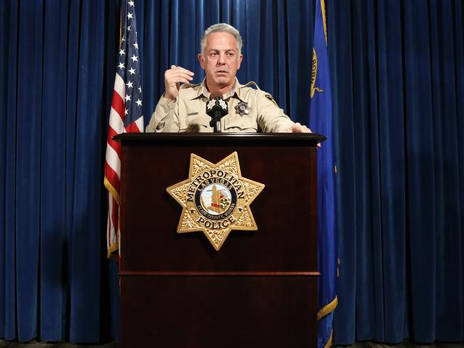Clark County Sheriff Joe Lombardo on release of the police report in Las Vegas today. Picture: AP