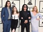 Nick Simmons, Sophie Simmons, Gene Simmons and Shannon Tweed attend The 58th GRAMMY Awards at Staples Center on February 15, 2016 in Los Angeles. Picture: AP