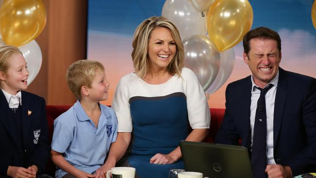 Loving mum ... Georgie Gardner's kids Bronte and Angus joined her on the Today set on her last day.