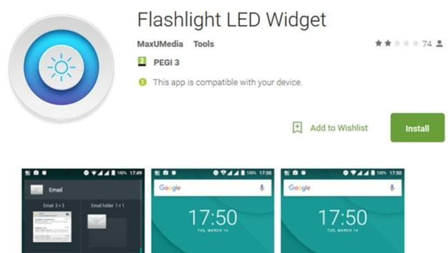 The Android app Flashlight LED Widget is a malicious trojan which can steal banking credentials and intercept text messages. Picture: Supplied