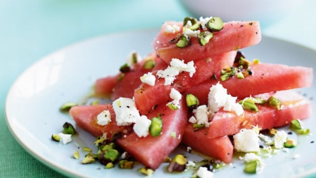 Watermelon salad is super refreshing on a warm evening.