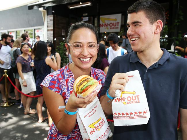 In 'n' Out Burger Pop Ups in Surry Hills have been a hit, but the chain has no intention on making permanent move to Australia. Picture: Tim Hunter.