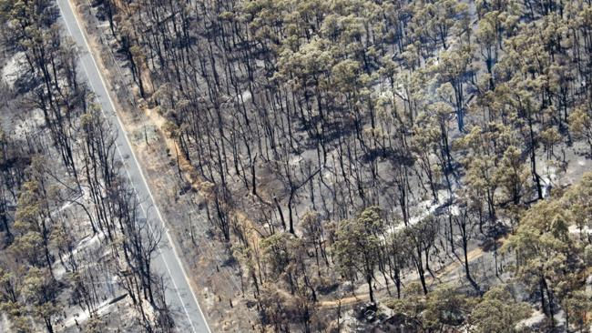 The Perth Hills region after a massive fire swept through the region on Sunday. Picture: Matthew Poon
