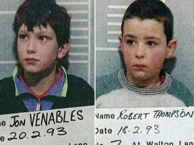 Jon Venables and Robert Thompson in their original police mugshots. Picture: Supplied