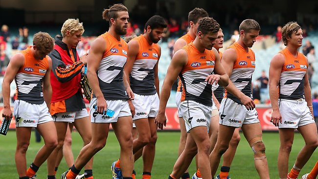 Dejected Giants players trudge off the MCG after the 41-point loss to Melbourne.