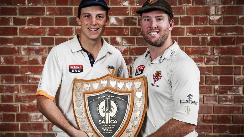 SACA Premier Cricket grand final captains Kelvin Smith (West Torrens) and Jake Brown (Kensington) with the premiership shield. Picture: Mike Burton