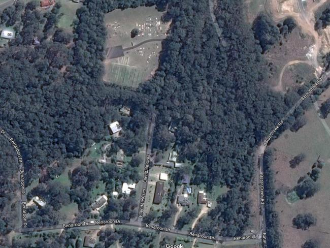 An aerial view on Google Earth of Benaroon Drive, the cemetery and Batar Creek Road which may have been an escape route for Tyrrell's abductors.