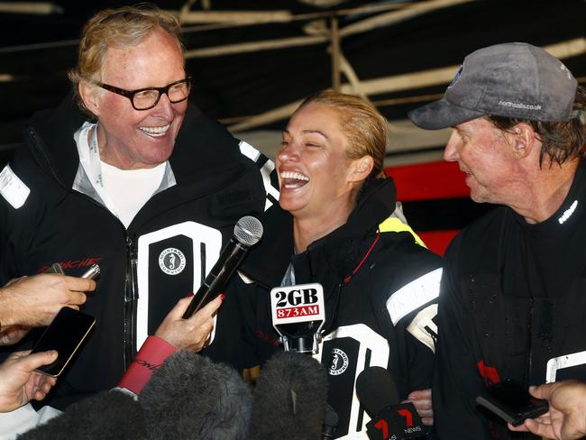 Comanche co-owners Jim and Kristy Clark and skipper Ken Read after winning last year.