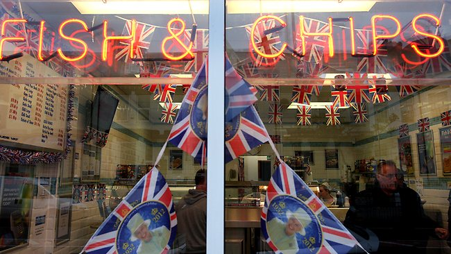 A fish and chip shop gets into the festive spirit with a patriotic display in South Shields, England, June 2, 2012. Picture: AP