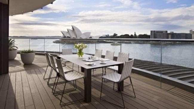 The Sydney suite's outdoor terrace boasts awe-inspiring views of the iconic Sydney Opera House. Picture: Park Hyatt