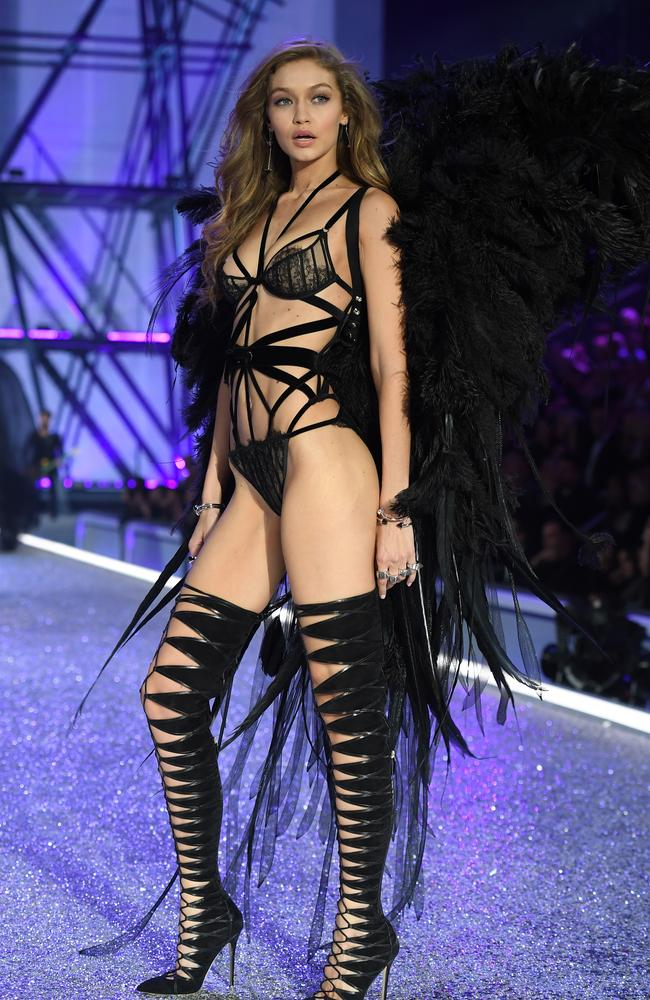 Gigi Hadid in a Marilyn Manson-esque outfit at Victoria's Secret. Picture: Getty Images.